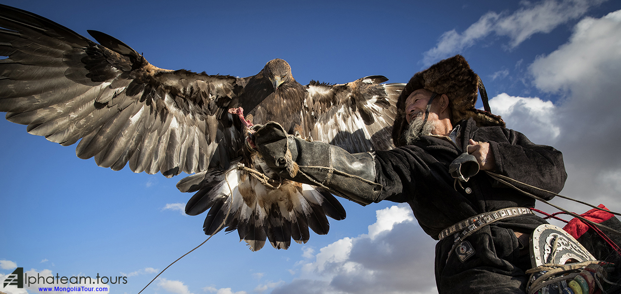 an eagle hunter with his wings opened eagle